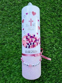 Taufkerze Herzschuppenfisch TK196-FU Rosa-Altrosa-Pink-Silber-Brombeerlila Holoflitter / Holoflitteruntergrund Rosa