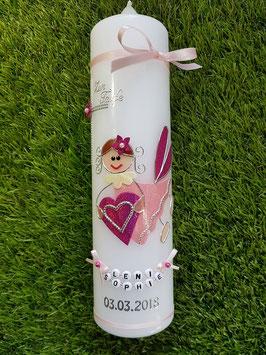 Taufkerze SK116 Schutzengel Mädchen Rosa-Pink Holoflitter