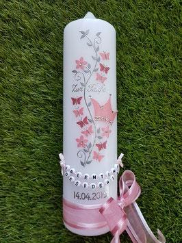 Taufkerze TK089-1 Schmetterlings-Blumenranke mit Krone Rosa-Altrosa Holoflitter / Buchstabenkette