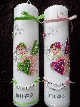 Taufkerzen Zwillinge  Apfelgrün/Rosa & Rosa/Pink Flitter ZW-TK116