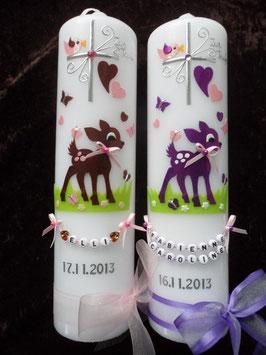 Taufkerzen Zwillinge Bambi TK188 Braun-Rosa & Brombeerlila-Rosa flitter