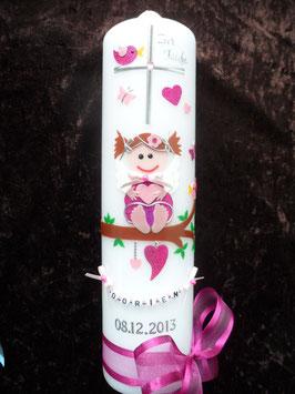 Taufkerze SK155 SCHUTZENGEL Pink-Rosa Holoflitter / Buchstabenkette