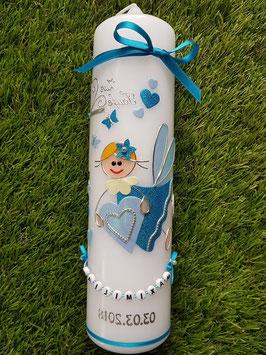 Taufkerze SK116 Schutzengel Türkis-Hellblau Hololflitter mit Herzen & Schmetterlinge