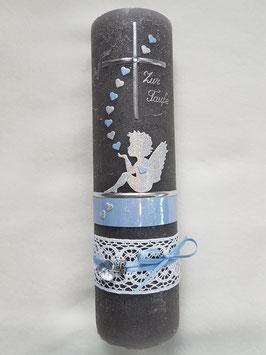 Vintage Taufkerze Silhouetten Schutzengel SK154-1-V / Kerze in Anthrazit / Silber-Hellblau Holoflitter