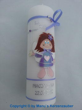 Taufkerze SK102 Schutzengel Mädchen Flieder Flitter / Silberschrift