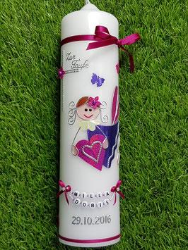 Taufkerze SK116 Schutzengel Mädchen Pink-Dunkellila Flitter mit Schmetterlinge