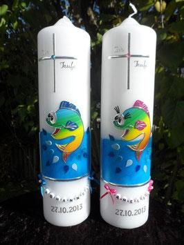 Taufkerzen Fisch TK195-1 Pink-Dunkelblau Flitter & Regenbogen