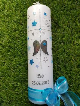Taufkerze SK154-9 Kreuz mit SCHUTZENGEL-FLÜGEL mit Sterne Anthrazit-Türkis Holoflitter