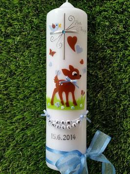 Taufkerze Bambi TK188 Braun-Hellblau Uni Hellblaue Satinschleife & Buchstabenkette©