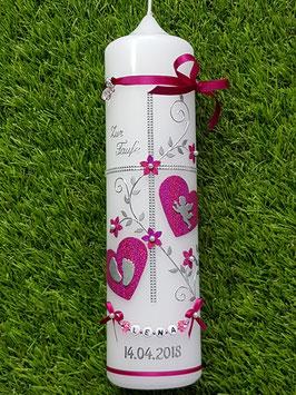 Taufkerze TK109 Klassisch Pink Holoflitter & Buchstabenkette /beide Herzen Pink