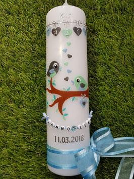 Taufkerze Vögelchen TK 214 Mint-Hellblau-Anthrazit Holoflitter / Buchstabenkette