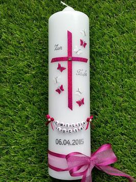 Taufkerze Regenbogen Schmetterlinge TK190 Pink-Weiß Holoflitter