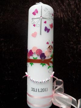 Taufkerze Fröhliche Raupe TK189 Rosa-Pink Töne Holoflitter