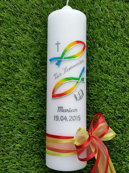 Kommunionkerze Konfirmationskerze Taufkerze KK269-1 in Regenbogen Farben