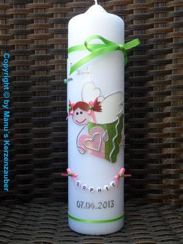 Taufkerze SK116 Schutzengel Neu Mädchen Apfelgrün-Rosa Flitter