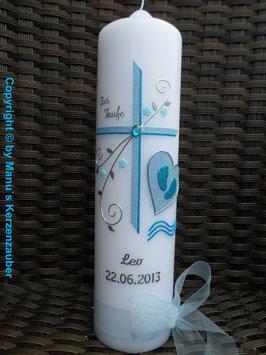 Taufkerze SK151 Kreuz mit SCHUTZENGEL Hellblau-Türkis Holoflitter / Silberschrift