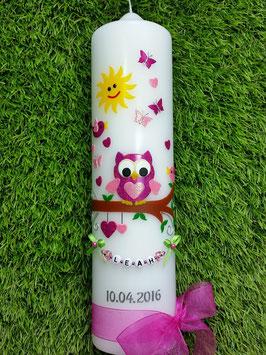 Taufkerze EULE das Original mit Kette TK181 in Pink-Rosa Flitter mit Sonne