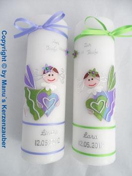 Taufkerzen Zwillinge  Flieder-Apfelgrün & Apfelgrün-Flieder Holoflitter ZW-TK116