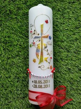 Taufkerze TK172 in Regenbogen-Rot mit Gold & Buchstabenkette