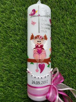 Taufkerze SK155 SCHUTZENGEL mit Spruch / Rosa-Pink Holoflitter / Buchstabenkette