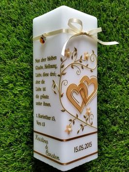 Hochzeitskerze HKS215 Hellbraun - Camel Holoflitter / Gold