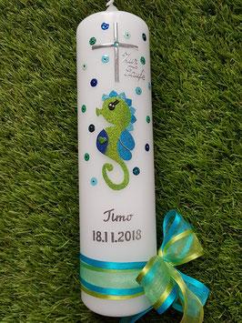 Taufkerze Seepferdchen TK113 Apfelgrün-Türkis-Pastellblau-Dunkelblau Holoflitter / Doppelschleife