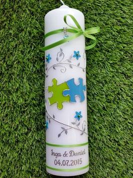 Hochzeitskerze Apfelgrün-Türkis-Silber Uni HK204 Klassisch Puzzle
