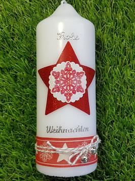 Weihnachtskerze WK103 Sterne Weiß-Grasgrün-Rot Holoflitter