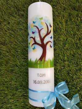 Taufkerze TK404 Lebensbaum Aquarell mit Buchstabenkette / Satin-Organzaband Dunkles Hellblau