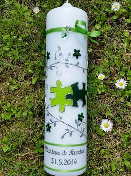Hochzeitskerze Apfelgrün-Dunkelgrün-Silber HK204 Klassisch Puzzle