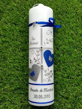 Hochzeitskerze HK109 Dunkelblau Holoflitter mit Silber