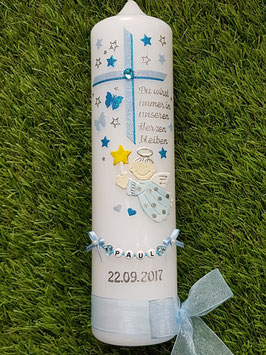 Trauerkerze TRK150-1 Schutzengel Hellblau-Türkis Holoflitter & Buchstabenkette