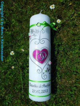 Hochzeitskerze klassisch HK208 Apfelgrün-Pink Flitter