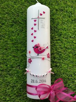 Taufkerze Vögelchen TK 212 Pink-Rosa Flitter