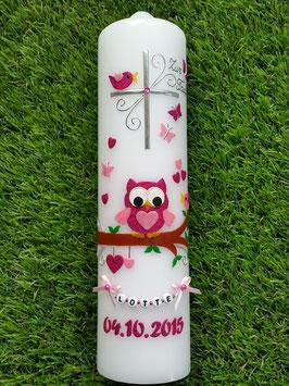 Taufkerze EULE das Original mit Kette TK181 in Pink-Rosa Holoflitter ohne Schleife/Datum in Pink Holoflitter