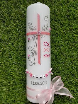 Taufkerze TK137 Fisch & Wellen in Rosa-Pink Holoflitter / Buchstabenkette