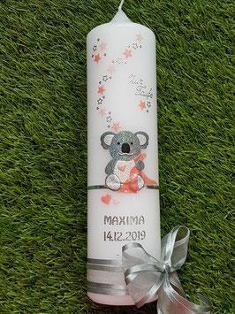"""Taufkerze """"Koala"""" TK217 Apricot-Lachs Holoflitter / Buchstabenkette / Ohne Wiese"""
