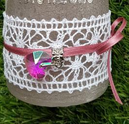 Klöppel Spitzenband mit Schleife & Herz Beadsanhänger