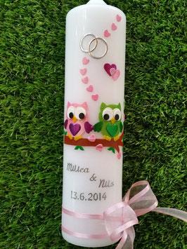 Hochzeitskerze Verliebte Eulen HK216-1 Rosa-Apfelgrün mit Ringe!