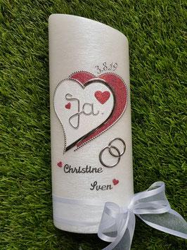 Hochzeitskerze HKS223 Herzschatten Altrosa & Weiß Holoflitter / Schleife Weiß