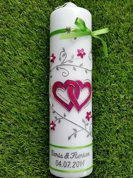 Hochzeitskerze HK204 Klassisch Apfelgrün-Pink >>Bänder Apfelgrün<<