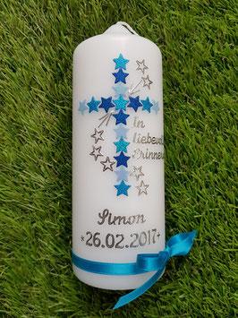 Tischkerze Erinnerungskerze Sterne TRK191 Hellblau-Türkis-Dunkelblau Holoflitter