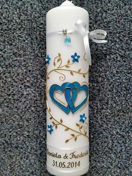 Hochzeitskerze Türkis Holoflitter & Gold HK204