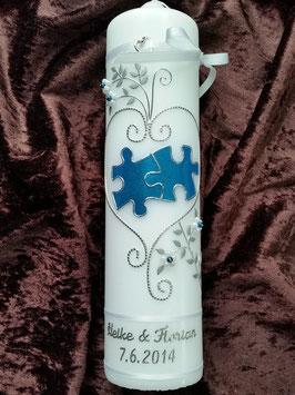 Hochzeitskerze Puzzle HK213 Weiß/Mittelblau Flitter