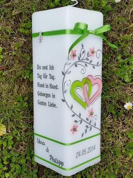 Hochzeitskerze HKS216 Apfelgrün-Rosa Uni