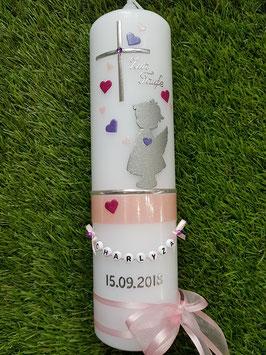 Taufkerze SK154-b SCHUTZENGEL mit Herzen in Zartrosa-Pink-Lila-Silber Holoflitter & Buchstabenkette
