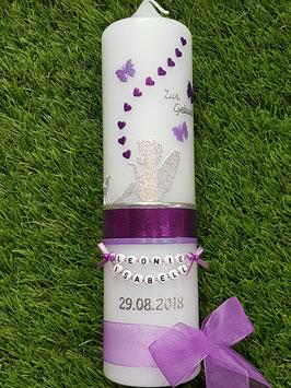 Kerze zur Geburt SK154-1 SCHUTZENGEL sitzend Silber / Brombeerlila-Flieder Holoflitter / mit Bambi & Ohne Kreuz