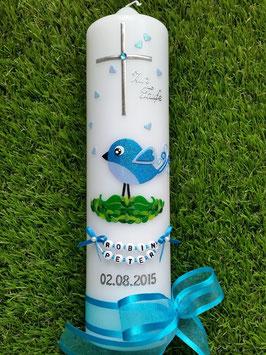 Taufkerze Vögelchen TK178 Türkis-Hellblau Flitter / Ohne Zylinder