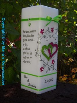 Hochzeitskerze HKS213 Apfelgrün-Pink Flitter
