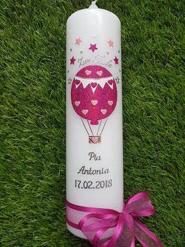 Taufkerze TK105 Heißluftballon in Pink-Rosa Holoflitter / Silberschrift